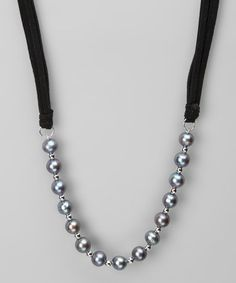Take a look at this Black Freshwater Pearl & Leather Necklace by KWAN COLLECTIONS on #zulily today!