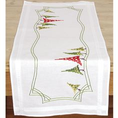 Modern Christmas Trees Table Runner - Cross Stitch, Needlepoint, Stitchery, and Embroidery Kits, Projects, and Needlecraft Tools | Stitchery...