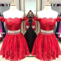 Charming prom dress,two piece prom gown, lace homecoming dress