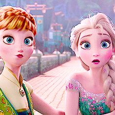 ❤️❄️Frozen fever❄️❤️ Look at precious Elsa, who all through the movie looks so put together, she's all disheveled and adorable she looks like the 21 year old she actually is