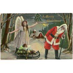 Merry Christmas 1911 Postcard of Santa with Angel and Sleigh  found at www.rubylane.com @rubylanecom