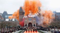 The fireworks and smoke bombs go off to celebrated the reopening of the Rijksmuseum in Amsterdam, Netherlands.