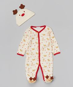 Another great find on #zulily! White & Red Reindeer Footie & Beanie - Infant by Quiltex #zulilyfinds