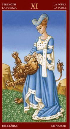 Strength from the Medieval Tarot Strength Tarot, Medieval, Le Tarot, Tarot Cards For Beginners, Epic Of Gilgamesh, Strange Events, Divination Cards, Tarot Astrology, Tarot Card Decks