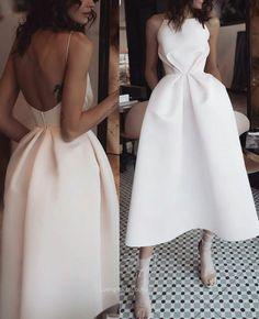 Sexy White Open Back Abendkleid, Tee Länge Satin Partykleid - Elegant Dresses, Pretty Dresses, Sexy Dresses, Beautiful Dresses, Fashion Dresses, Formal Dresses, Wedding Dresses, White Evening Dresses, Elegant White Dress
