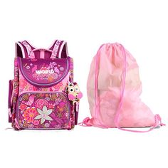 2 Piece: Top Quality Unique Floral Waterproof Orthopedic Children School Backpack