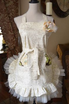 French Postale Document Inspired  Apron w/Tulle by OliviabyDesign