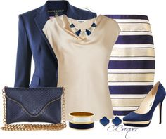 """Navy Stripes"" by ccroquer on Polyvore"