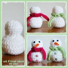 Tuto : faire un bonhomme de neige au crochet                                                                                                                                                     Plus Crochet Mat, Crochet Toys, Patron Crochet, Spool Knitting, Crochet Snowman, Crochet Winter, Theme Noel, Knitted Dolls, Crochet Projects