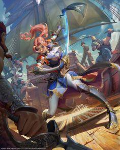 Yu Cheng hong — Illustration for Mobius Final Fantasy-FFV Faris Fantasy Character Design, Character Concept, Character Inspiration, Character Art, Concept Art, Fantasy Warrior, Fantasy Rpg, Anime Fantasy, Fantasy Girl