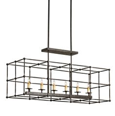 Currey & Company Fitzjames Rectangular Chandelier on sale. The Fitzjames Rectangular Chandelier is a perfect example of a simple form executed with the purity of a natural material - wrought iron. Candle Chandelier, Candelabra Bulbs, Modern Chandelier, Chandelier Lighting, House Lighting, Apartment Lighting, Bronze Chandelier, Rectangular Chandelier, Contemporary Pendant Lights