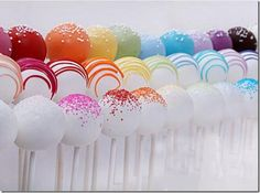 Assorted Rainbow Wedding Cake Pops - Embrace the warm weather with a wedding cake featuring a rainbow of bold and bright hues. - Cake pops frosted in every color under the sun are an unexpected dessert or take-home favor. Rainbow Cake Pops, Rainbow Food, Rainbow Theme, Rainbow Birthday, Rainbow Cakes, Rainbow Colours, Bright Colors, Rainbow Lollipops, Rainbow Treats