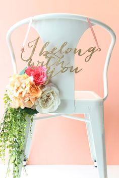 Wedding Chair Signs gold leaf I belong with di hostandtoaststudio, $94.00