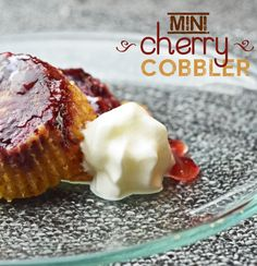 This is a yummy Mini Cherry Cobbler Recipe. If you love cherry cobbler, you'll enjoy these cherry cobbler mini cupcakes, it's easier to control your portion #cherry #cobbler #mini #minicobbler