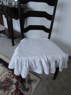 Shabby chic Ruffle Chair cover/ White  Ruffle Seat by MODARAGEHOME, $39.00