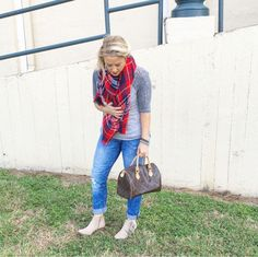 Cozy plaid scarf casual style