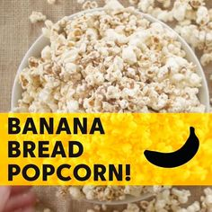 Banana Bread Popcorn LIKE Cooking Panda for more delicious videos! Popcorn Snacks, Candy Popcorn, Flavored Popcorn, Gourmet Popcorn, Popcorn Recipes, Snack Recipes, Popcorn Mix, Popcorn Bowl, Popcorn Kernels