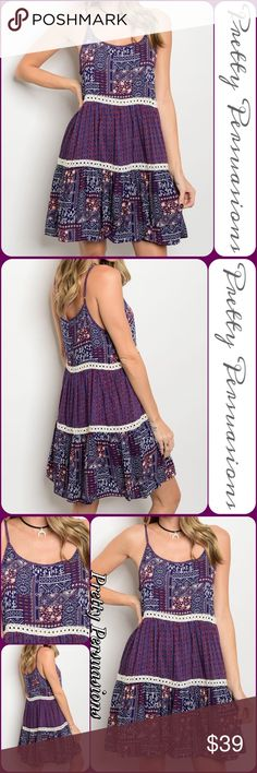 """SALE‼️NWT Printed & Crochet Tiered Peasant Dress Available in S, M, L Measurements taken from a Small Length: 36"""" Bust: 34"""" Waist: 32""""  Rayon  Features • mixed all over printed design • crochet insets • tiered hem • scooped neckline • soft material • relaxed fit  STYLE NOTE: Layer this dress w/a cozy chunky cardigan. Pair with tights or leggings & add your favorite booties for an adorable winter look!  Bundle discounts available No pp or trades  Item # 1/1011240350PPD vintage boho chic…"""