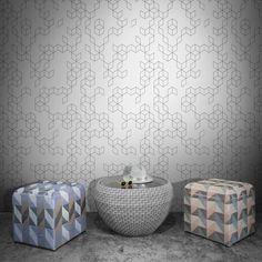 The Keziah Night Wallpaper is a modern minimalist geometric wallpaper design, inspired by vintage tiles. From French graphic designer Florent Bodart, it's a bold and . Geometric Wallpaper Design, Vintage Tile, Texture Design, Elle Decor, Blue Cream, Designer Wallpaper, Modern Minimalist, Modern Design, Tiles