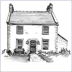 drawings of houses | House Sketch Gallery - Graphic Sketch House Portraits by Artist ...