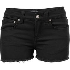 Venus Women's Plus Size Cut Off Jean Shorts (357.110 IDR) ❤ liked on Polyvore featuring shorts, black, cut-off shorts, cut-off denim shorts, short denim shorts, zipper shorts and zip shorts