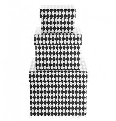 Förvaringsbox i set om tre med harlequin mönster från Tine K Home Color Shapes, Colour, Square, Pattern Books, Pretty Little, Accent Decor, Paper Art, Black And White, Interior
