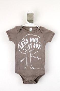 organic baby bodysuit tree hugger print Let's Hug It Out screen printed. $24.00, via Etsy.