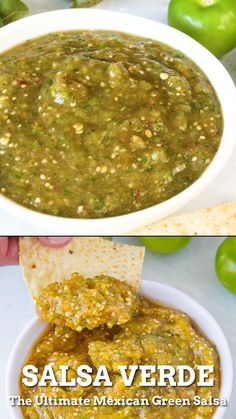 The best salsa verde recipe made with tomatillos and jalapeno peppers. Serve it up as a table sauce, hot sauce, or as a salsa with tortilla chips. This is the ultimate green salsa. Authentic Mexican Recipes, Mexican Salsa Recipes, Mexican Dishes, Green Salsa Recipes, Authentic Salsa Recipe, Green Pepper Recipes, Guatemalan Recipes, Mexican Snacks, Mexican Breakfast Recipes