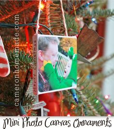 3x3 canvases (so tiny & cute)  Pictures you can crop to 3x3  Paper to back the canvas  Yarn, baker's twine or ribbon to hang the ornament  Mod Podge