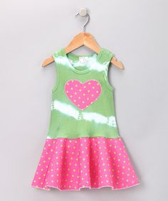 Take a look at this Lime Heart Polka Dot Dress - Toddler & Girls by Sweet Katie on #zulily today!
