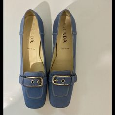 Prada loafer shoes Prada Blue Canvas & Leather White Stitched Loafer Shoes 👟Preowned U.S. Size 9 before purchasing I recommend we measure feet to inches ! To make sure you will have the size ! Prada Shoes