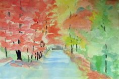 watercolor painting of a road through woods in Autumn