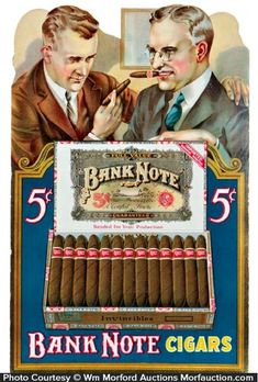 Antique Advertising | Bank Note Cigars Sign • Antique Advertising