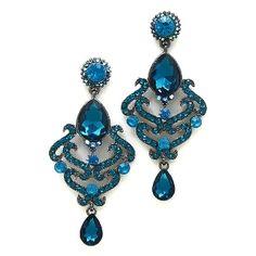 "Teal Oasis Blue 3-1/4"" Long Crystal Prom Earrings Elegant Formal Jewelry $19.99  www.ElegantCostumeJewelry.com"