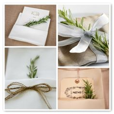 place settings using herbs | sprig of rosemary, tucked in to napkins or infused in olive oil.
