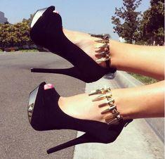 Chic u0026 Moda Negro Suede Plataforma tobillo Correa zapatos de ...