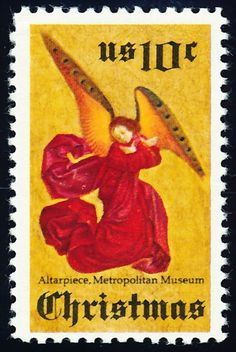 Three Christmas stamps were issued in 1974. The first shows the Perussis altarpiece by an anonymous artist. I like the bold use of color on this stamp.
