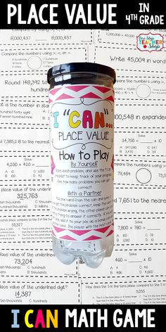 4th grade math game for PLACE VALUE. Perfect for math centers, independent practice, whole class review, and progress monitoring. This math game covers ALL Common Core math standards related to place value in Fourth Grade.