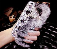 Luxury Rabbit Fur Diamond Fox Head Rhinestone Bling Case For iPhone 7 Plus 6 Plus 6s 5S 5 SE Crystal