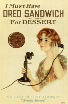 A 1919 Oreo Cookie Ad... Weird that I thought it was funny that the wrapper called it a chocolate biscuit thing just the other day.. Touché Bulgaria.. Touché