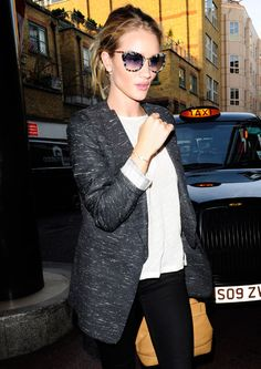 surf & city <3s // rosie huntington-whitely #graphite blazer #blackandwhite #greyspotted sunglasses