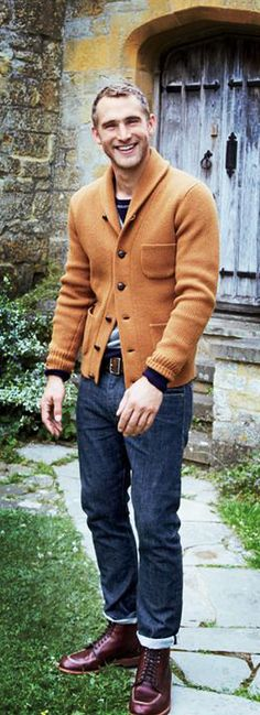 A shawl collar cardigan.