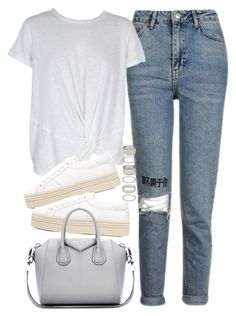"""""""Outfit with jeans and platform sneakers"""" by ferned on Polyvore featuring Topshop, MINKPINK, Yves Saint Laurent, Givenchy and Forever 21"""