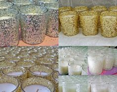 25 Gold Glitter Wedding Candle Holders by EverydayDesignEvents