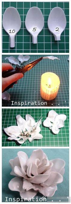 melted plastic spoon flower DIY
