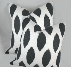Charcoal grey Ikat   Decorative Pillow Cushion Cover  by kLuxdeco, $28.00