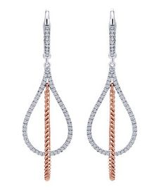 14K white pink gold hampton diamond drop earrings from Gabriel & Co.