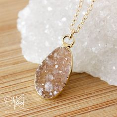 Druzy Crystal Necklace  Initial Necklace  Choose Your by OhKuol