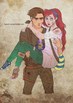 Pin for Later: Disney Princesses Become Badass Zombie Fighters in Walking Dead Art Jim and Ariel