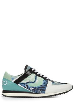 KENZO spearmint green leather trainers